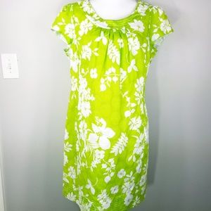 Kim Rogers shift dress green white cap sleeves